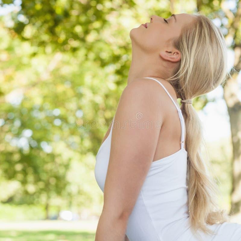 Perfile la opinión la mujer joven rubia que hace yoga en un parque foto de archivo libre de regalías