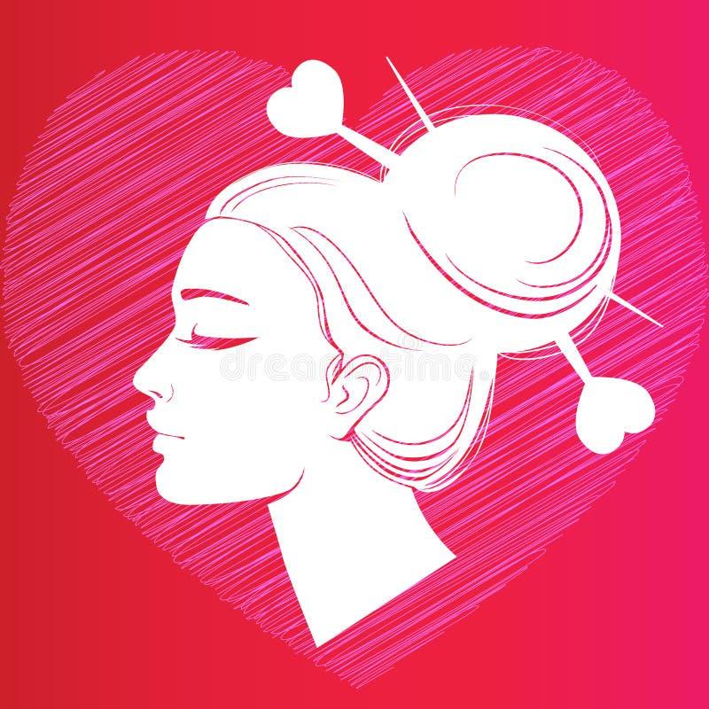 Perfile la silueta de una muchacha con el pelo en el fondo del corazón stock de ilustración