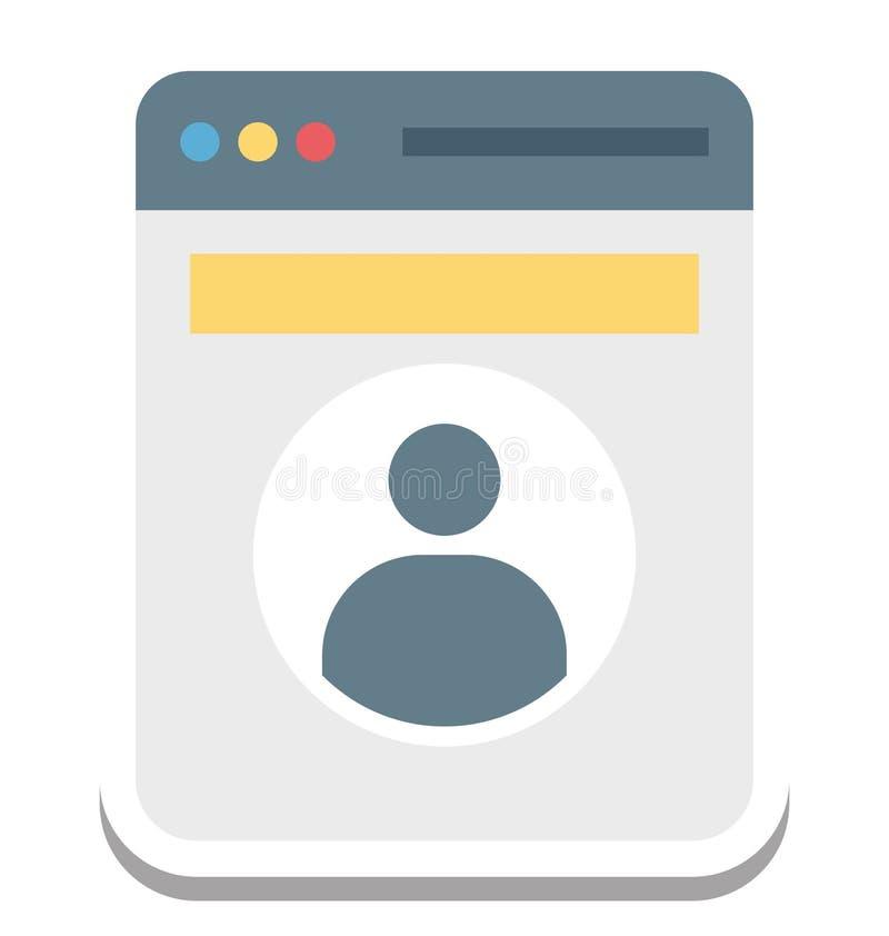 Perfile la ventana emergente, icono del vector del perfil del web editable stock de ilustración
