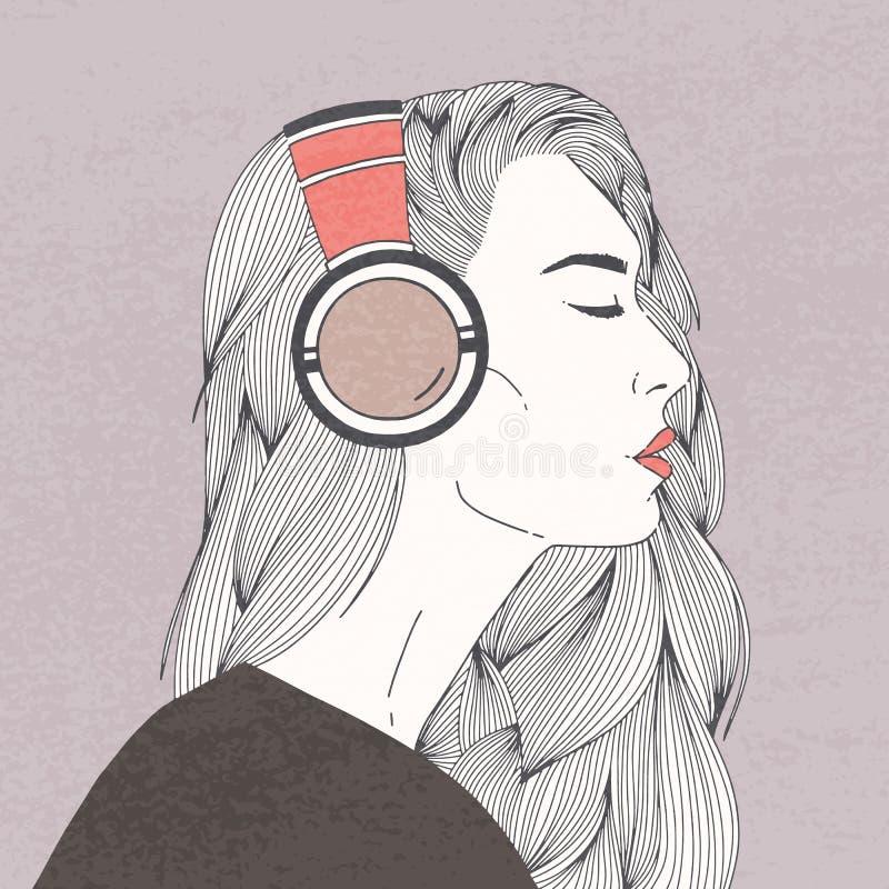 Perfile o retrato da jovem mulher de cabelos compridos lindo com os olhos fechados que vestem fones de ouvido Menina ou senhora b ilustração do vetor
