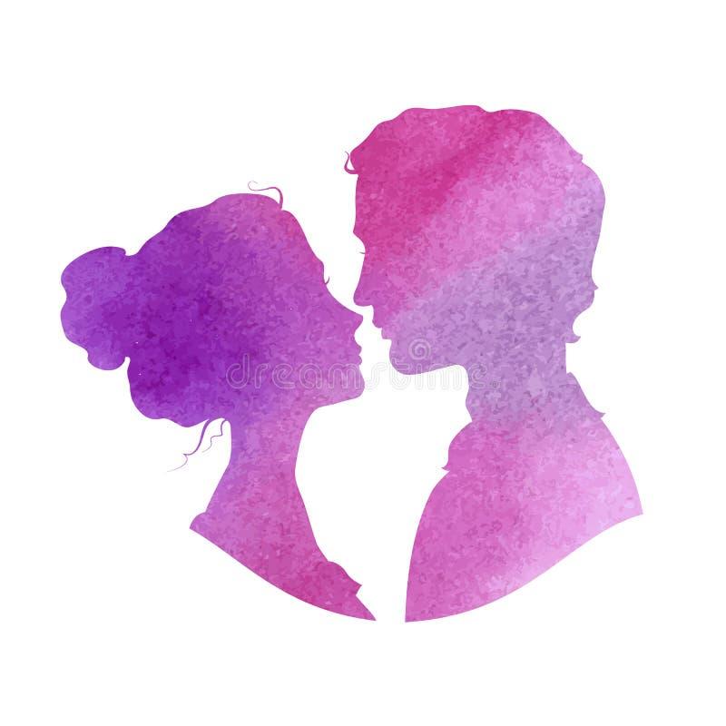 Perfile silhuetas do homem e da mulher, aquarela ilustração do vetor