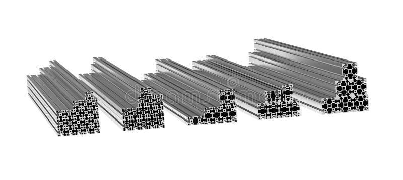 Perfiles de aluminio stock de ilustración