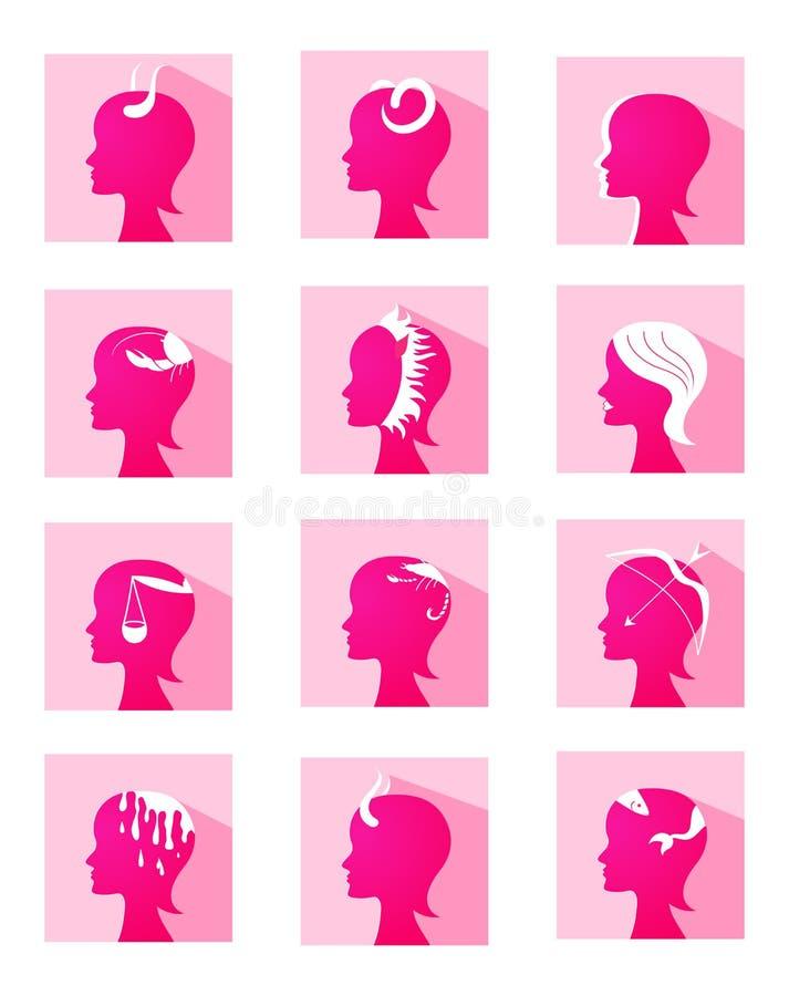 Perfiles de la hembra del zodiaco de los iconos stock de ilustración