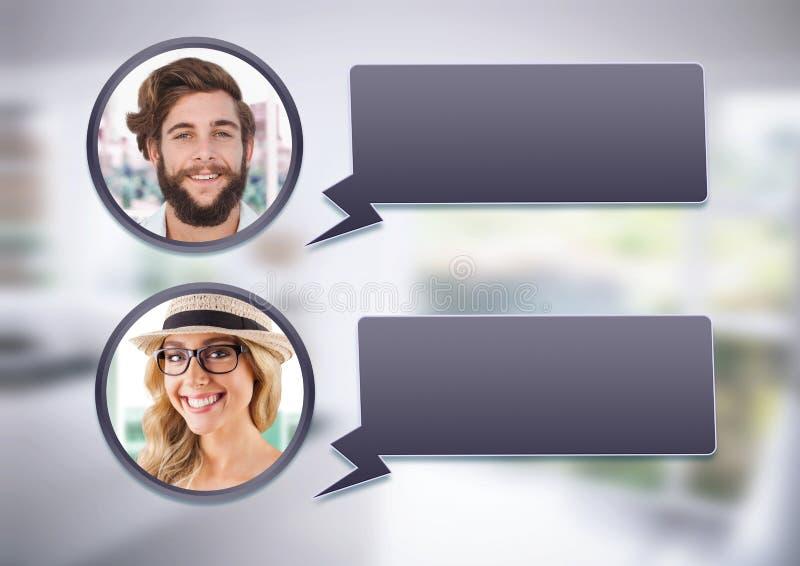 perfiles de la mensajería de la burbuja de la charla foto de archivo