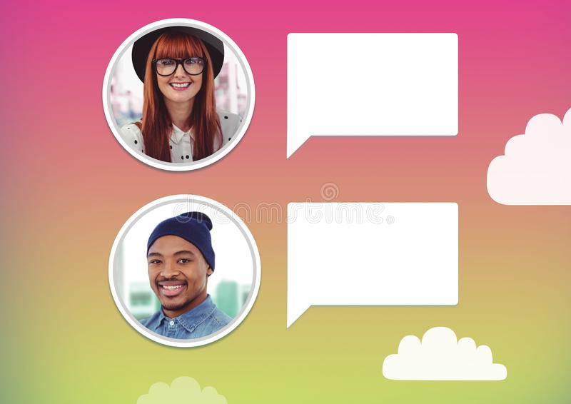 perfiles de la mensajería de la burbuja de la charla fotografía de archivo
