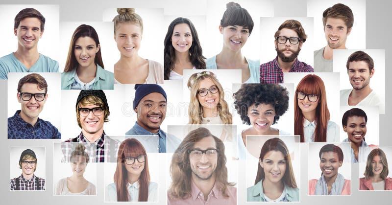 perfiles del retrato de diversa gente imagen de archivo libre de regalías