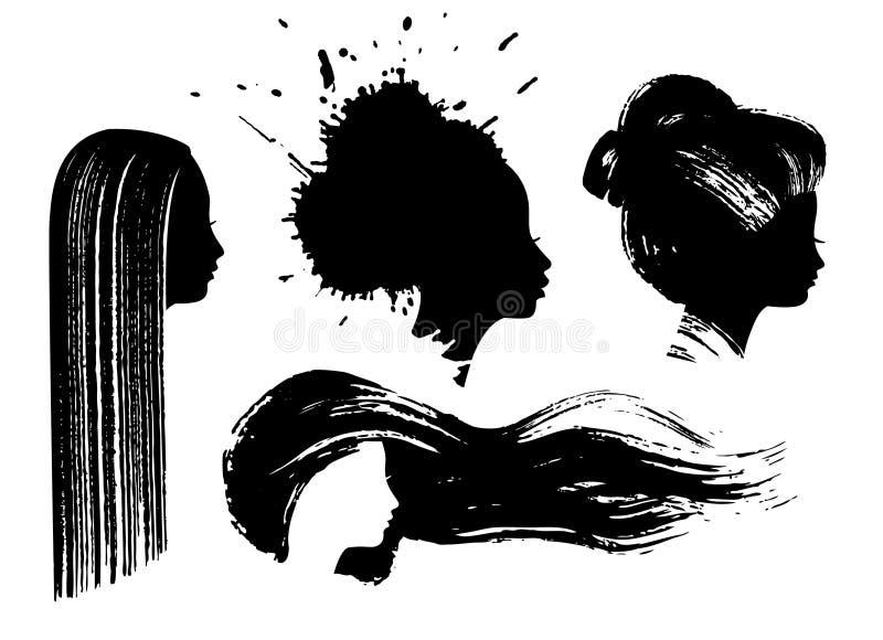 Download Perfis da mulher da tinta ilustração stock. Ilustração de cabelo - 10051788