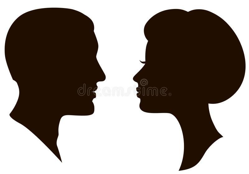 Perfis das faces do homem e da mulher ilustração royalty free