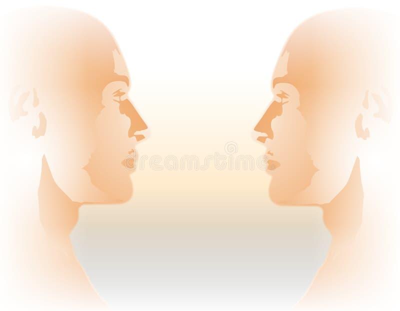 Perfis gêmeos masculinos frente a frente ilustração royalty free