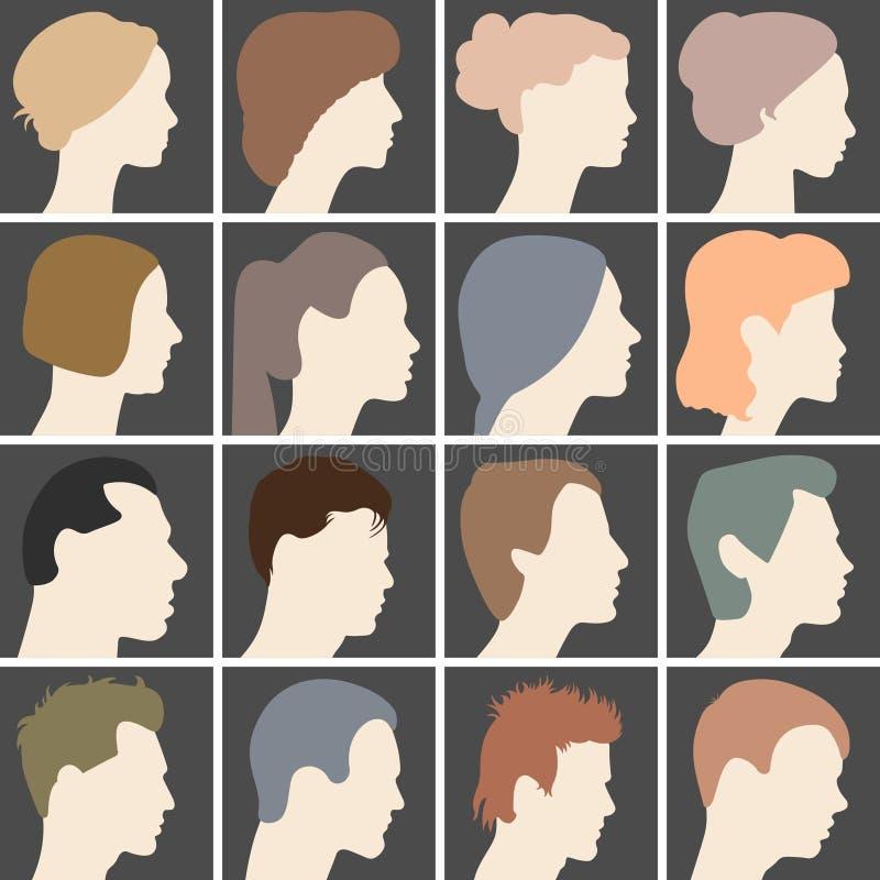 Perfis humanos com penteados diferentes ilustração royalty free