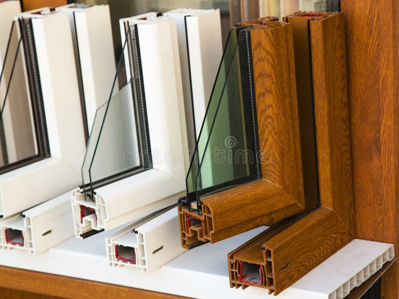 Perfis modernos das janelas fotografia de stock