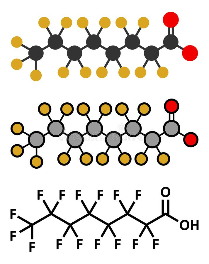 Free Perfluorooctanoic Acid (PFOA, Perfluorooctanoate) Carcinogenic Pollutant Molecule Royalty Free Stock Photography - 191112427