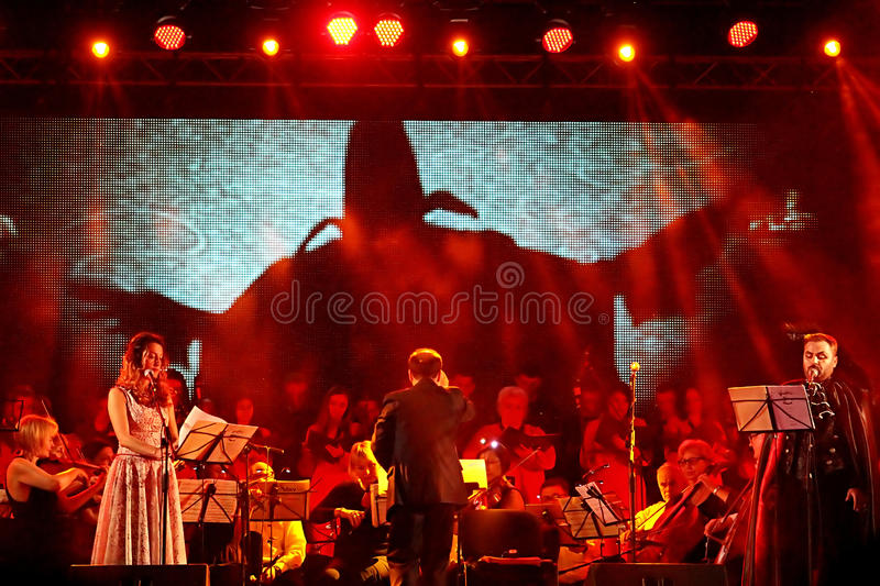 Perfomance of Dance of the Vampires by Jim Steinman on the open air scene of OperaFestTulchyn royalty free stock photo