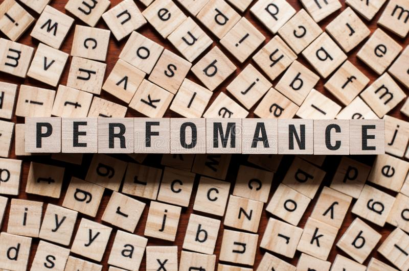 Perfomance word concept stock photography