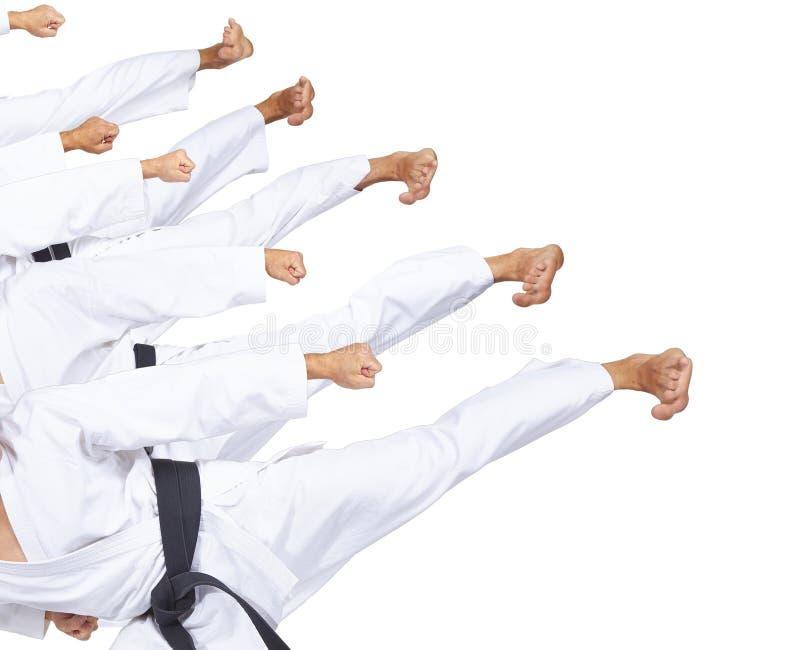 In perfoming Athleten karatagi fünf in der Trittcollage lizenzfreie stockfotos