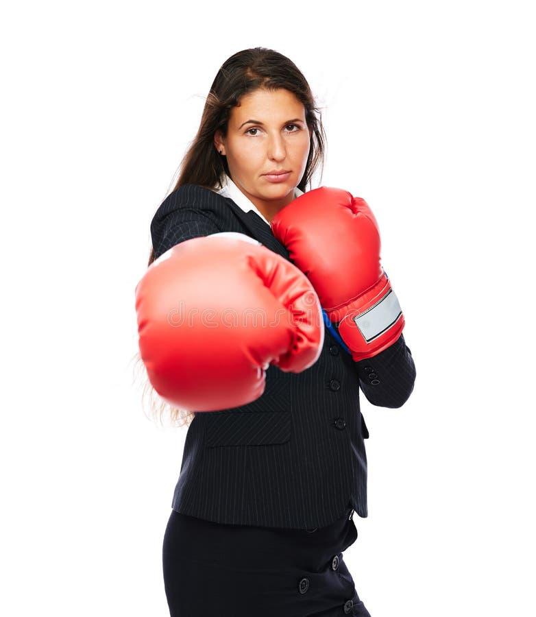 Perforación de la mujer de negocios del boxeo fotos de archivo libres de regalías