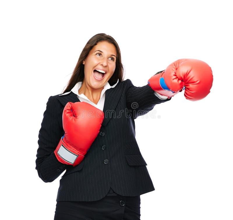 Perforación de la mujer de negocios del boxeo fotos de archivo