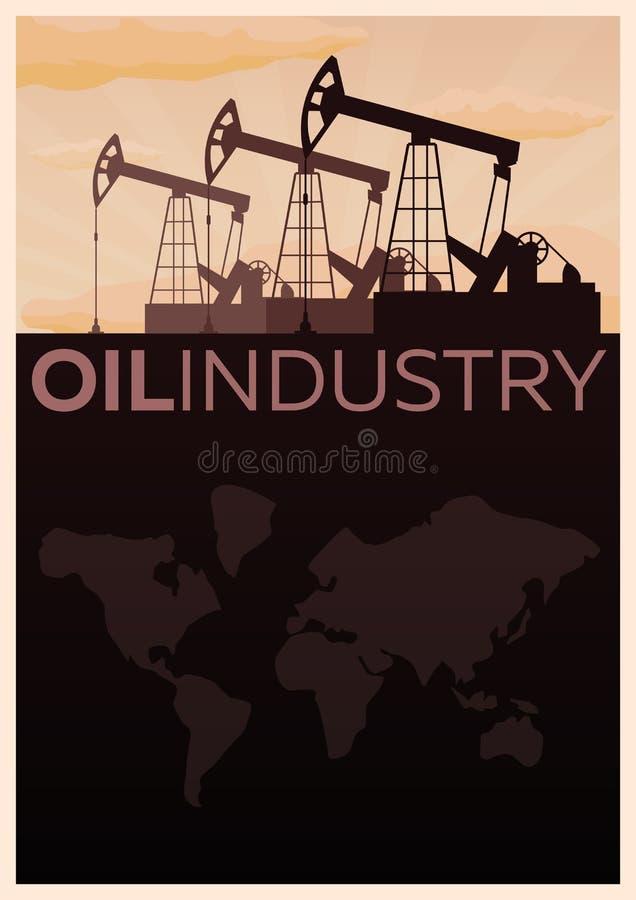 Perforación en Siberia del oeste Ejemplo plano del vector de la exploración petrolífera de la torre libre illustration