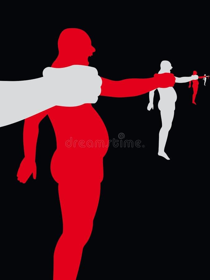 Perforación silueteada de la gente libre illustration