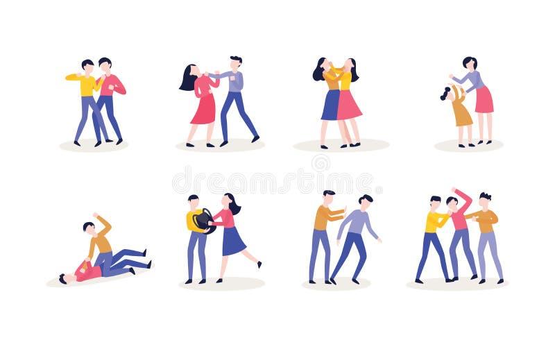 Perforaci?n adolescente de la lucha del hombre y de la mujer del vector libre illustration