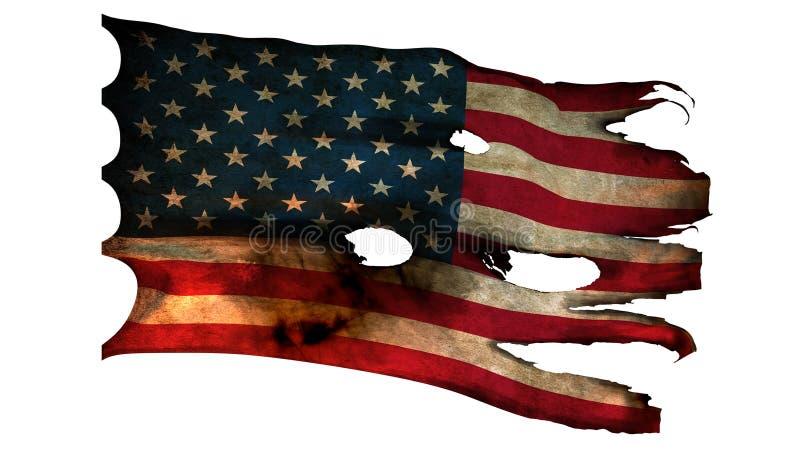 Perforado, quemado, bandera americana del grunge ilustración del vector
