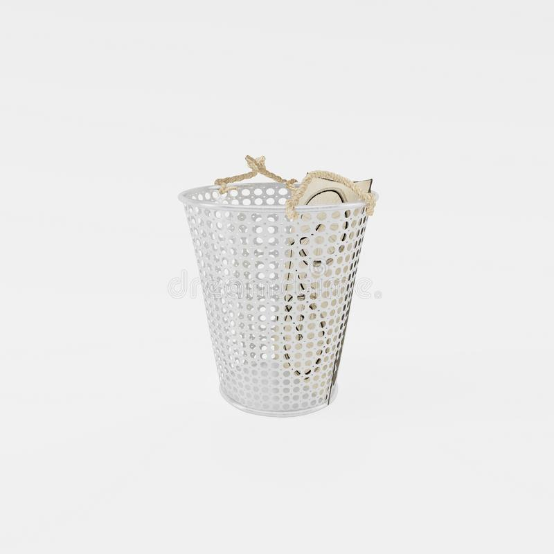 Perforated decorative metal basket. Front view stock photos
