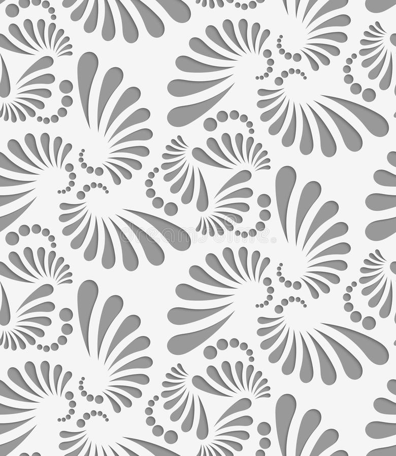 Perforated flourish big and small tear drops thee turn. Seamless geometric background. Modern monochrome 3D texture. Pattern with realistic shadow and cut out royalty free illustration