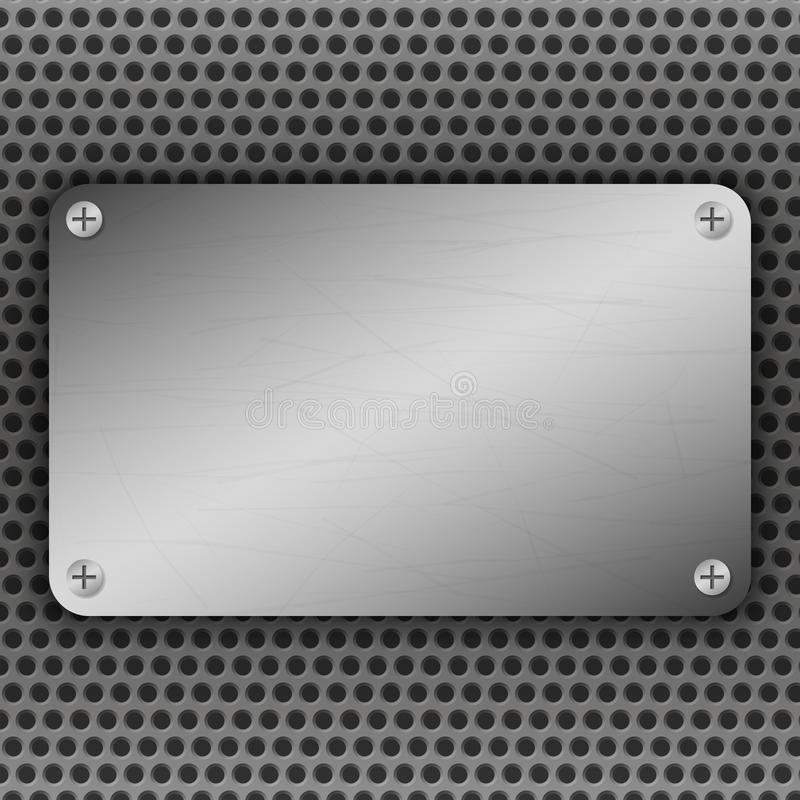 Perforated Metal Background with plate and rivets. Metallic grunge texture. Brushed Steel, aluminum surface template. Perforated Metal Background with plate and stock illustration