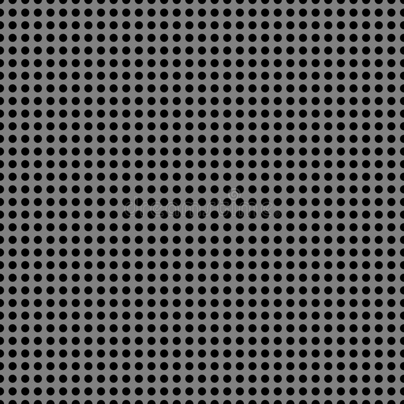 Perforated metal chrome, steel, iron, silver texture seamless pattern background. stock illustration