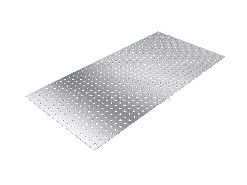 Perforated sheet, 3D rendering, isolated on white background. Illustration royalty free stock image