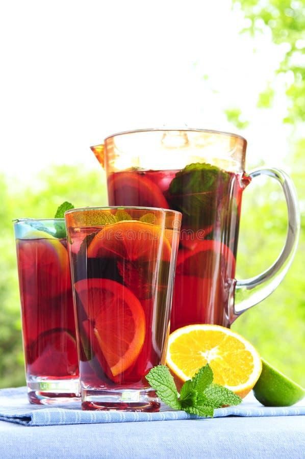 Perforateur de fruit en pichet et glaces photos stock