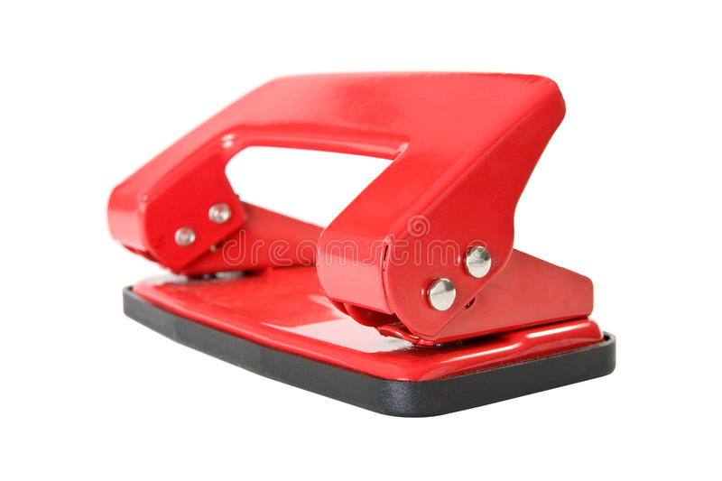 Perforateur de trou rouge de papier de bureau images stock