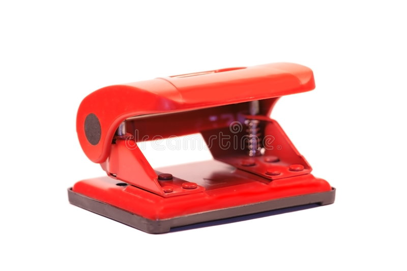 Perforateur rouge de bureau photographie stock