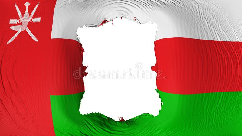 Perforation rectangulaire dans le drapeau de l'Oman illustration de vecteur