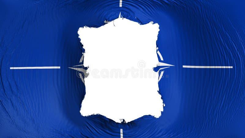 Perforation rectangulaire dans le drapeau de l'OTAN illustration libre de droits