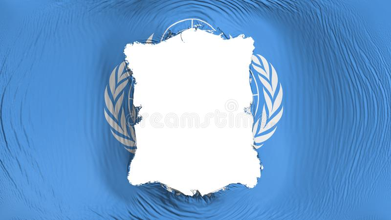 Perforation rectangulaire dans le drapeau des Nations Unies illustration libre de droits