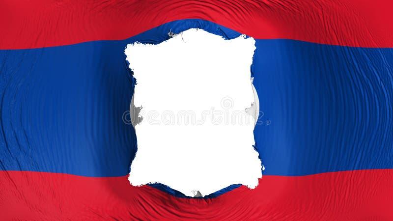 Perforation rectangulaire dans le drapeau du Laos illustration stock