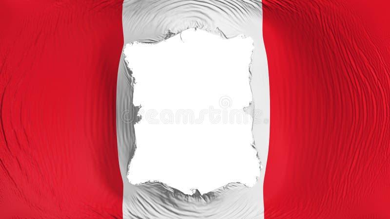 Perforation rectangulaire dans le drapeau du Pérou illustration de vecteur