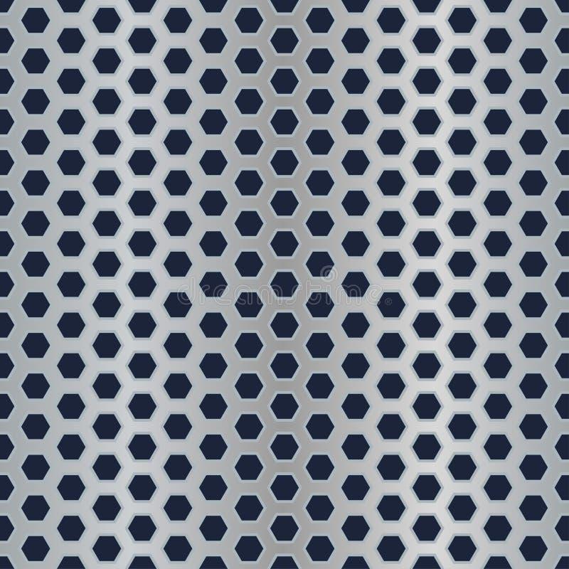 perforerad textur för sexhörningsmetall vektor illustrationer