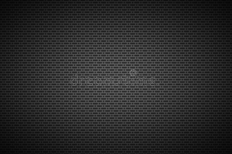 Perforierter schwarzer metallischer Hintergrund, Metallbeschaffenheit vektor abbildung