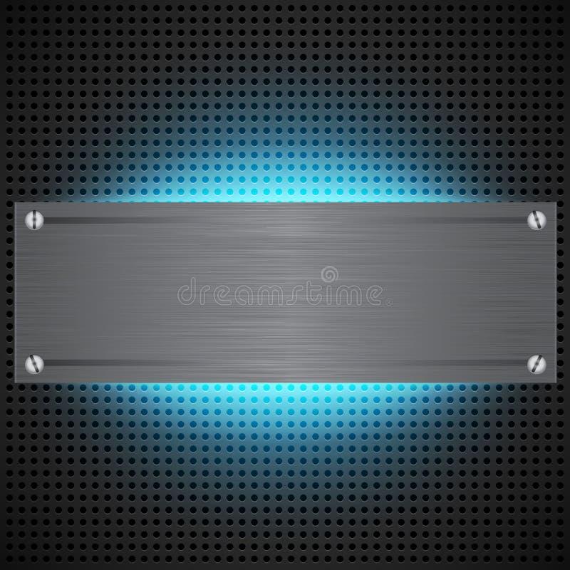 Perforierter technologischer Hintergrund mit blauem Laser stock abbildung