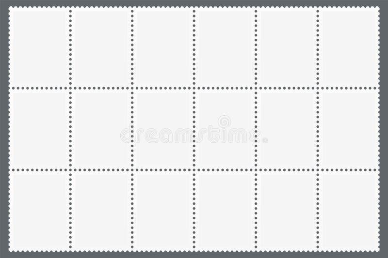 Perforiertes Blatt von Briefmarken vektor abbildung
