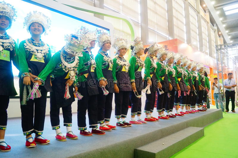 Performance activities, the Fifth China Charity Project Exchange Exhibition. Guizhou Miao song and dance, cheerful. At the Shenzhen Convention and Exhibition stock photos