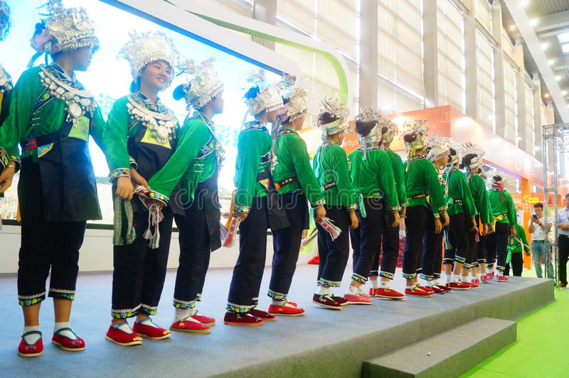 Performance activities, the Fifth China Charity Project Exchange Exhibition. Guizhou Miao song and dance, cheerful. At the Shenzhen Convention and Exhibition stock photography