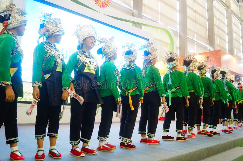 Performance activities, the Fifth China Charity Project Exchange Exhibition. Guizhou Miao song and dance, cheerful. At the Shenzhen Convention and Exhibition stock image