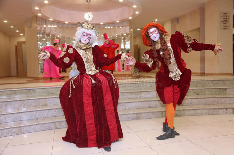 Performance of actors of the theater wandering dolls gentleman Pezho in the foyer of the theatre buff. royalty free stock photos