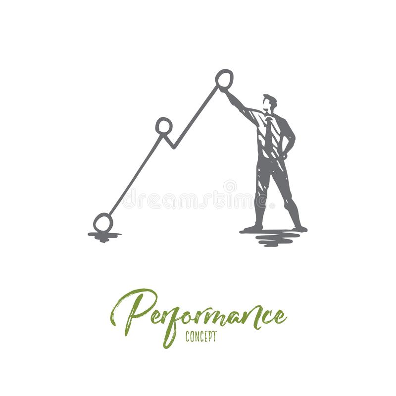 Performance, arrow, growth, symbol, diagram concept. Hand drawn isolated vector. vector illustration