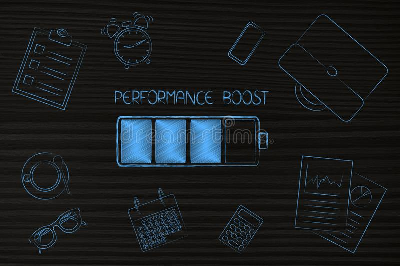 Performance boost at work, battery and caption among by office-related objects. Performance boost at work conceptual illustration: battery and caption among by royalty free stock images