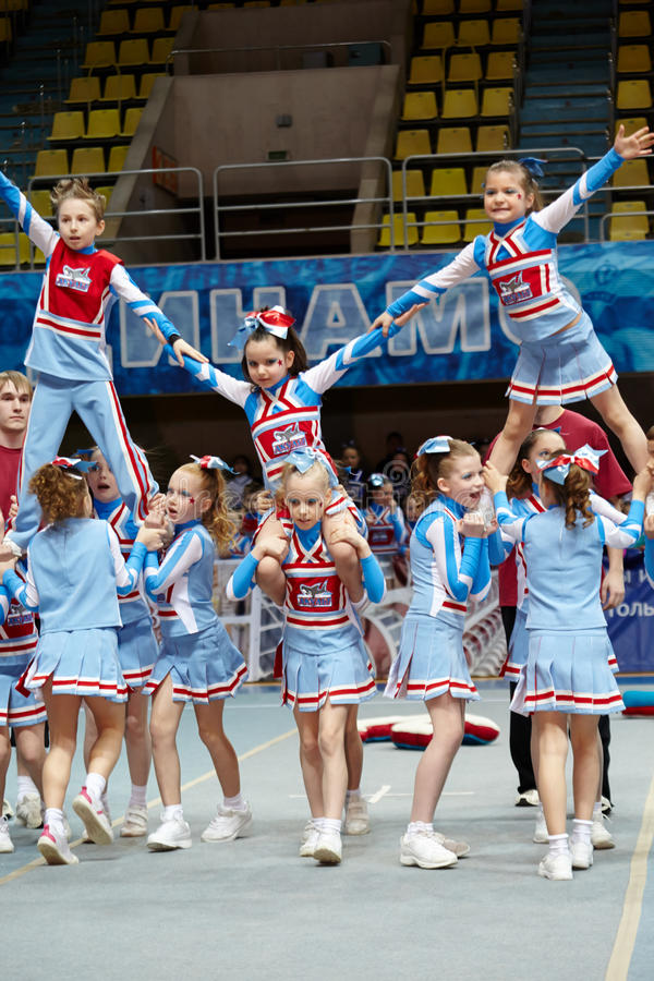 Performance of children team Sharks stock image