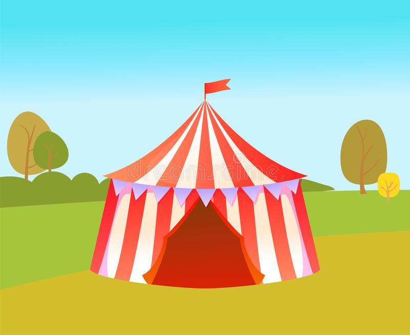 Amusement Park with Tent for Circus Performances stock illustration